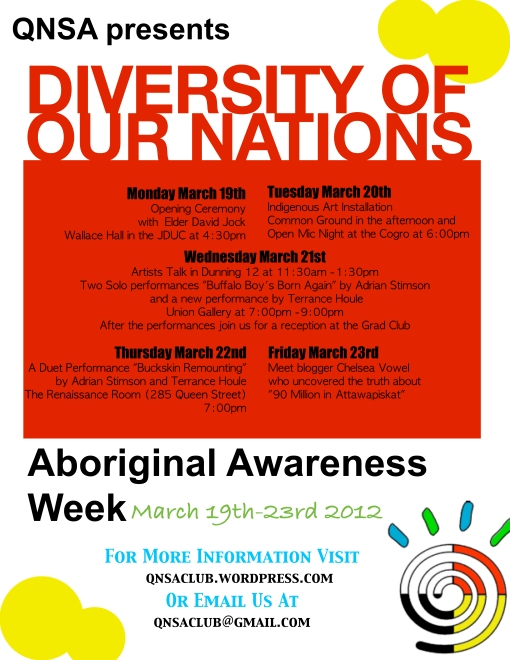 QNSA's Aboriginal Awareness Week March 19-23, 2012!